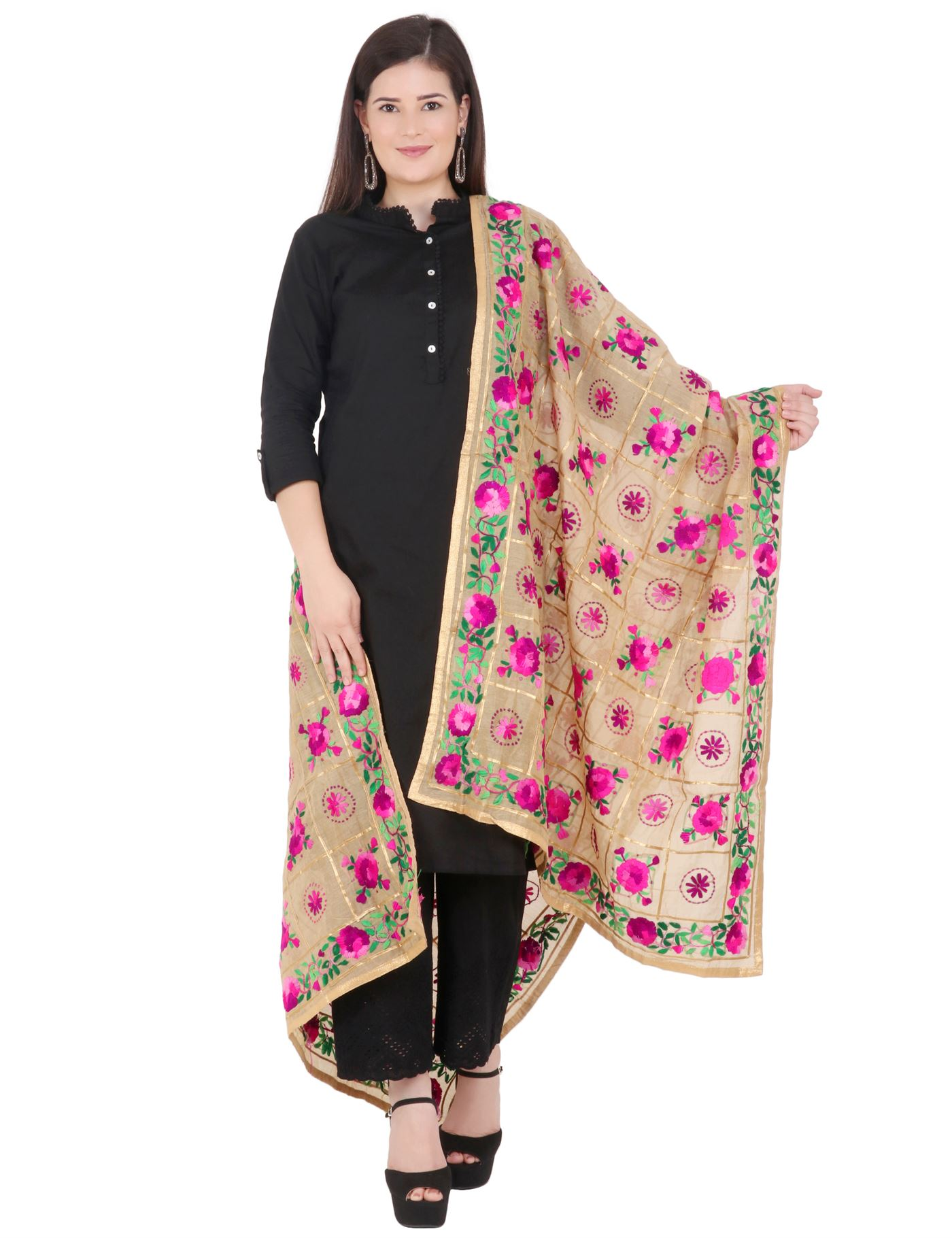 Moda Chales Pink Floral Hand Embroidered Dupatta With Golden Border
