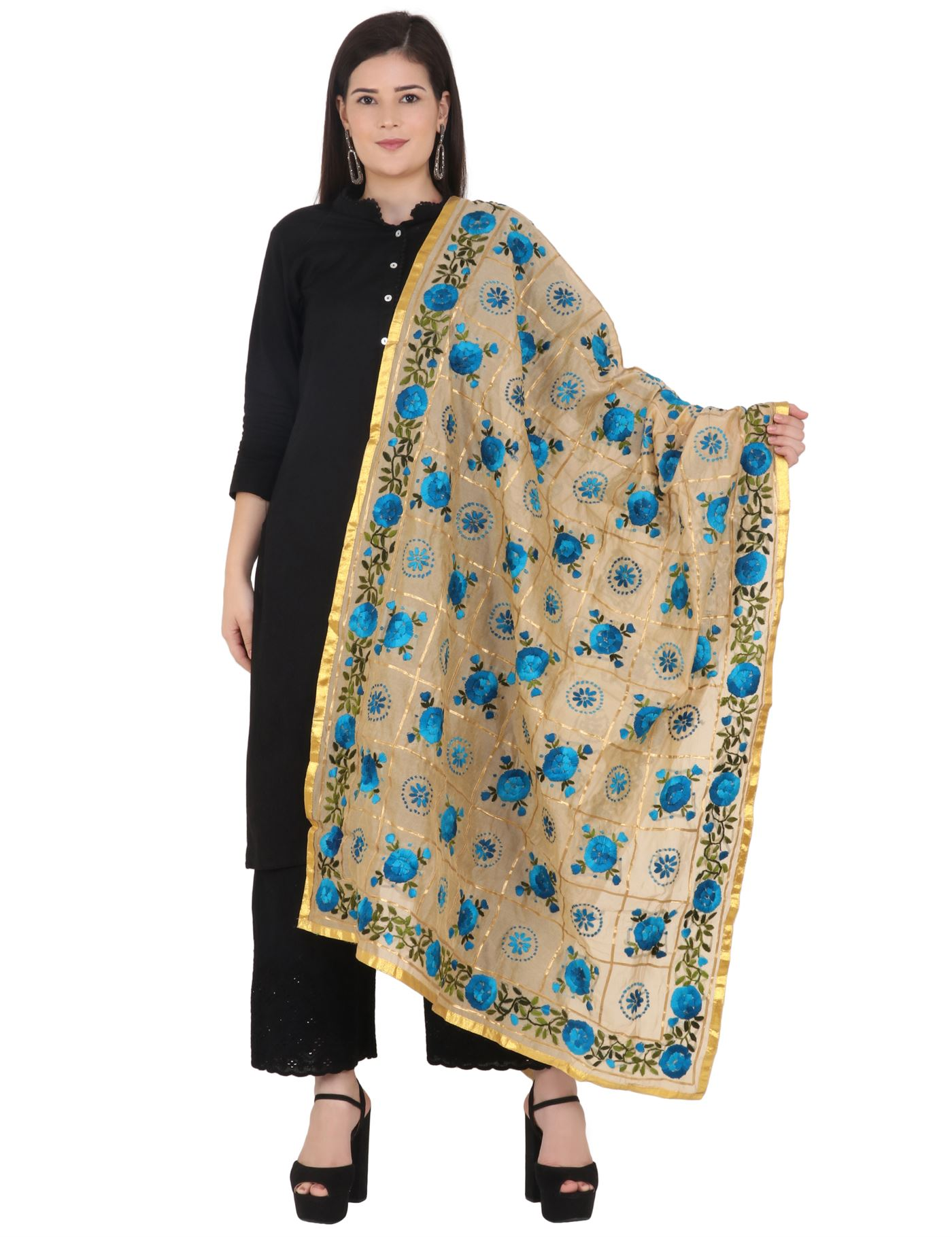 Moda Chales Blue Floral Embroidered Dupatta with Golden Border