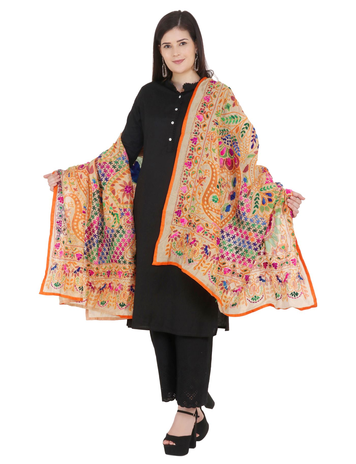 Moda Chales Fabric Multicolor Embroidered Kantha Work Dupatta