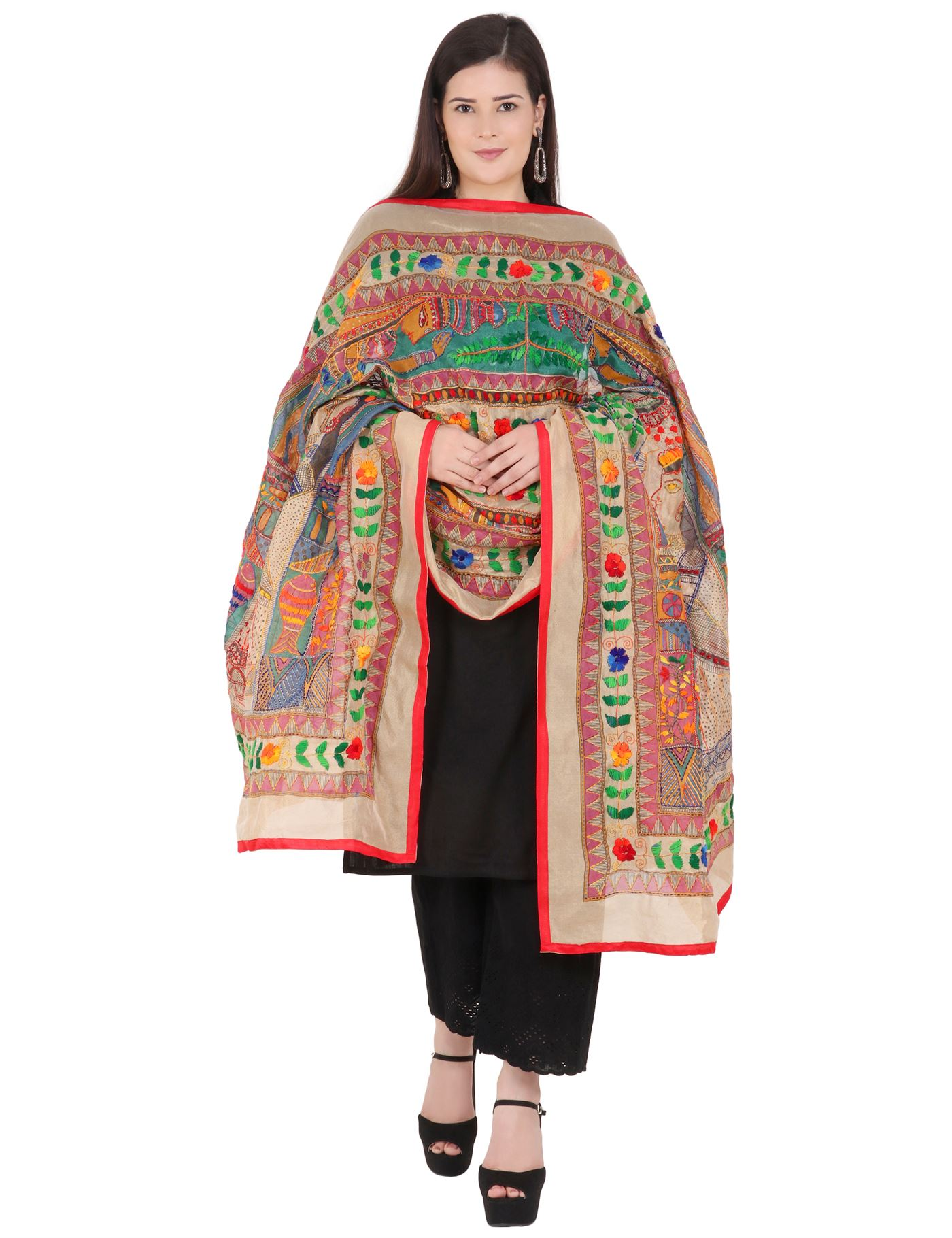 Moda Chales Multicolor Embroidered King Queen Kantha Work