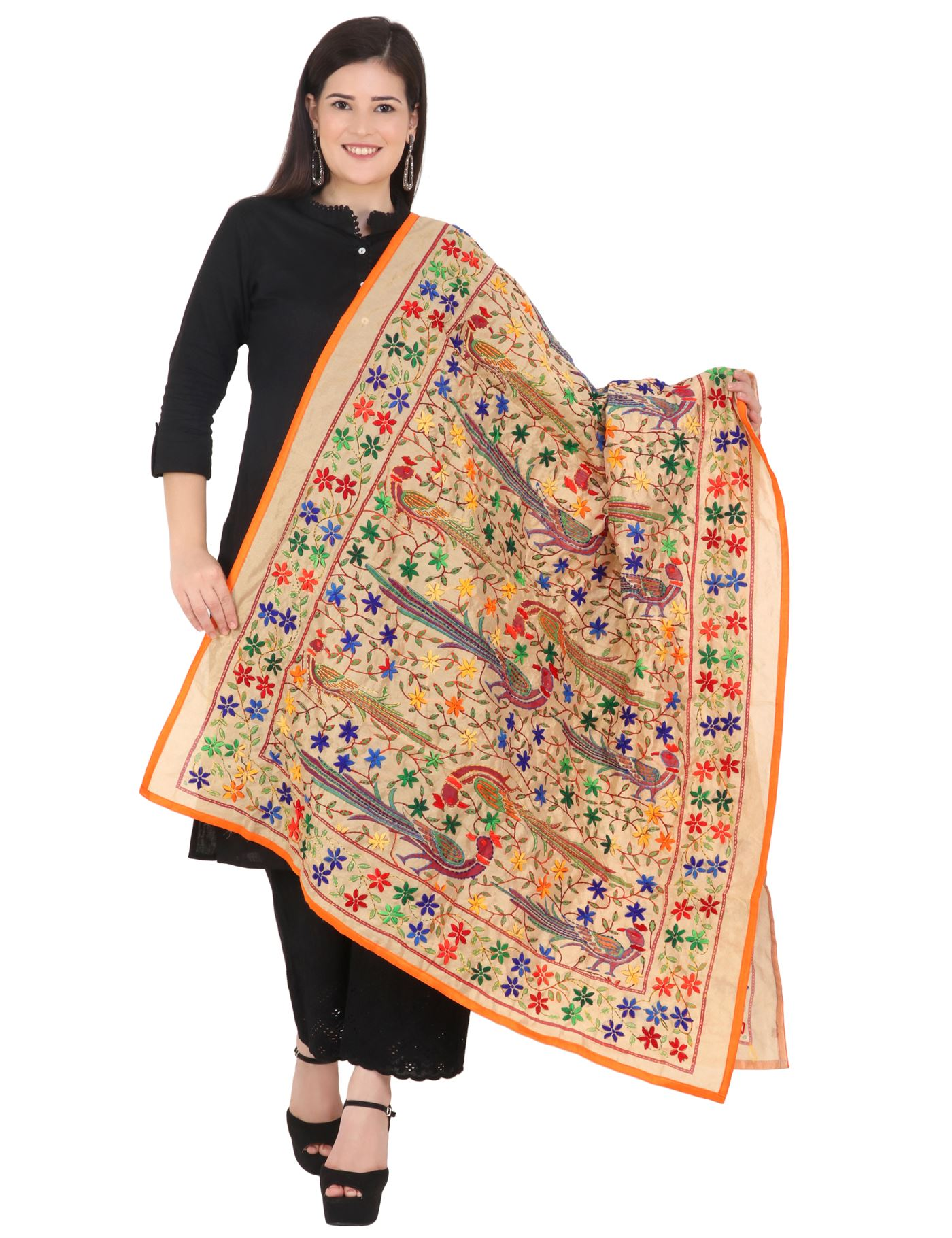 Moda Chales Multicolor Embroidered Peacock Kantha Work Dupatta